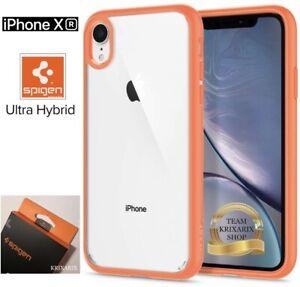 Dettagli su Cover per Apple iPhone XR - Custodia SPIGEN Ultra Hybrid Arancione e Trasparente
