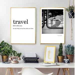 Details About Travel Definition Minimalist Canvas Art Print And Poster Living Room Wall Decor