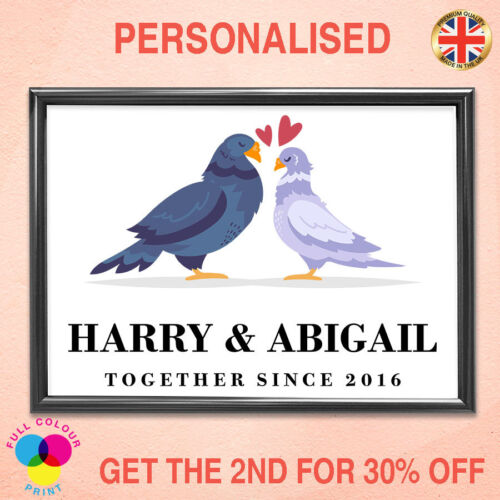 Personalised PRINT home Decoration Love Pigeon Wall House Warming Unique GIFT