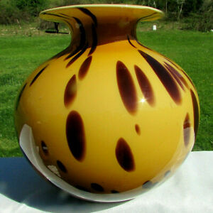 """MURANO Vintage Hand Blown Spotted Large Stunning Vase 9""""H x 9""""W Labeled"""