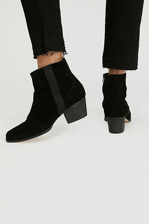 In box NEW FREE PEOPLE: Maverick Suede Ankle Boot Black Side Zip 37 Euro/  7 US