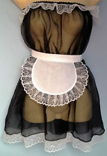 black organza dress + apron adult baby fancy dress sissy maid cosplay 36-52