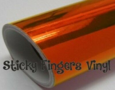 "4 ft Roll ORANGE MIRRORED Chrome ADHESIVE Outdoor Vinyl 12"" SIGNS Crafts DECALS"