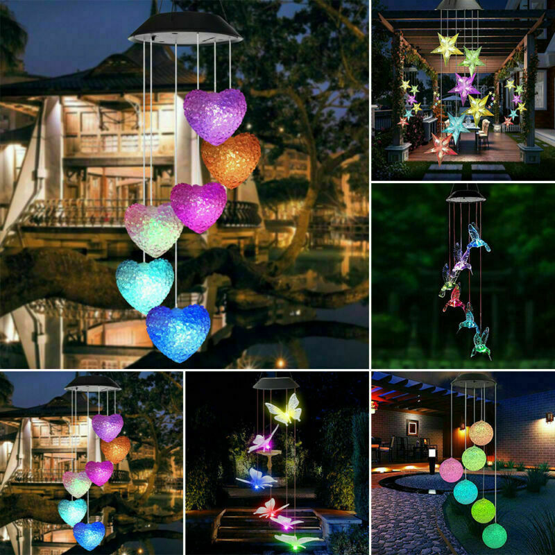 LED Solar Wind Chime Light Color Changing Outdoor Garden Hanging Patio Lamp UK