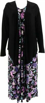 Carole Hochman Bouquet Rayon Spandex 2-Pack Dress Set Berry 1X NEW A302179