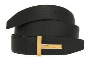 NEW-TOM-FORD-BLACK-BROWN-LEATHER-T-ICON-BUCKLE-REVERSIBLE-BELT-110-44