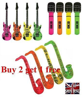 Inflatable Guitar Blow Up Fancy Dress Kids Rock Party Disco Musical Accessories