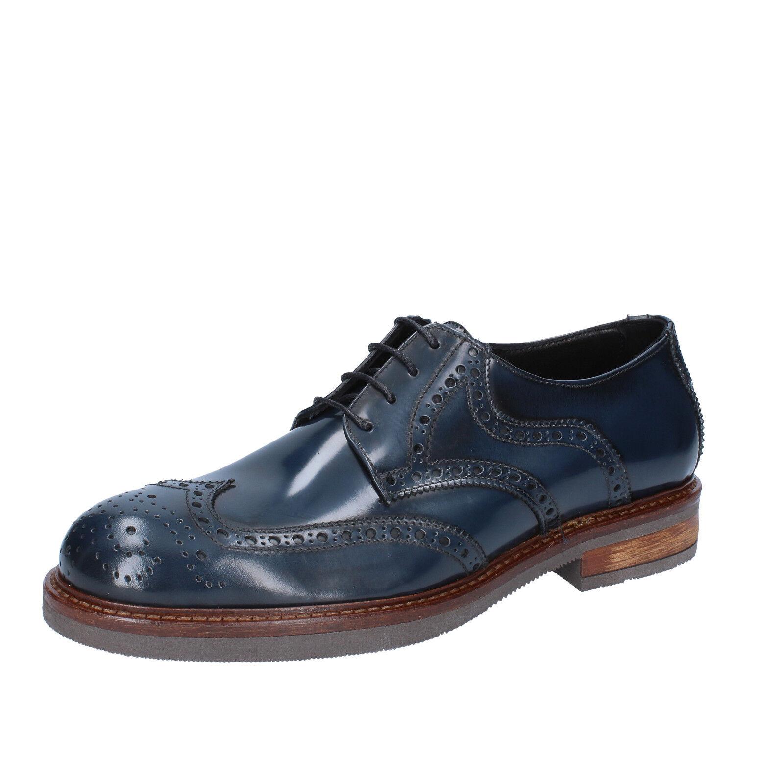 Men's (EU schuhe FDF Schuhe 8 (EU Men's 41) elegant Blau shiny Leder BZ334-C 0853ff