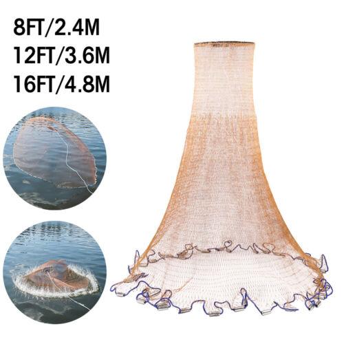 8-16ft Heavy Duty Fishing Cast Net Bait Easy Throw Hand Strong Nylon Mesh+Sinker
