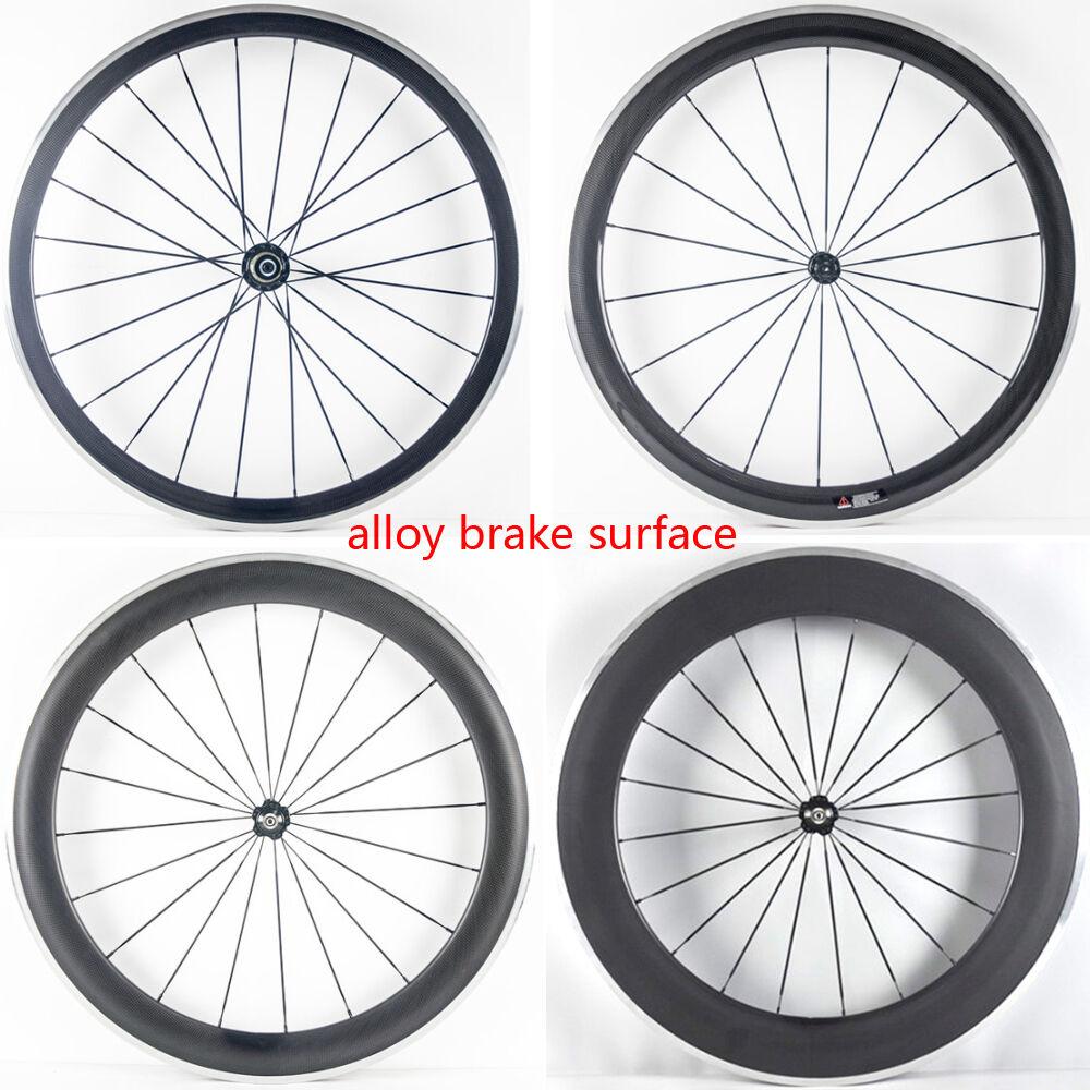 1pair 700C Road bike 38 50 60 80mm carbon bicycle wheelset alloy brake surface