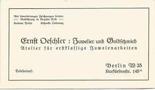 alte Visitenkarte Berlin Ernst Oeschler Juwelier Goldschmied, Kurfrstenstr. 145