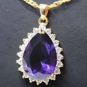 6-Ct-Pear-Purple-Amethyst-Necklace-Women-Jewelry-14K-Yellow-Gold-Plated
