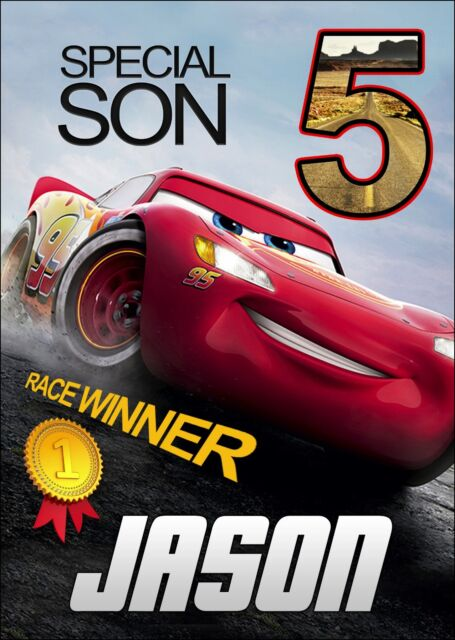 Cars 3 Lightning McQueen PERSONALISED Birthday Card ANY NAME AGE RELATION Son