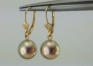 Image Is Loading 14k Yellow Gold Round Freshwater Pink Champagne Pearl