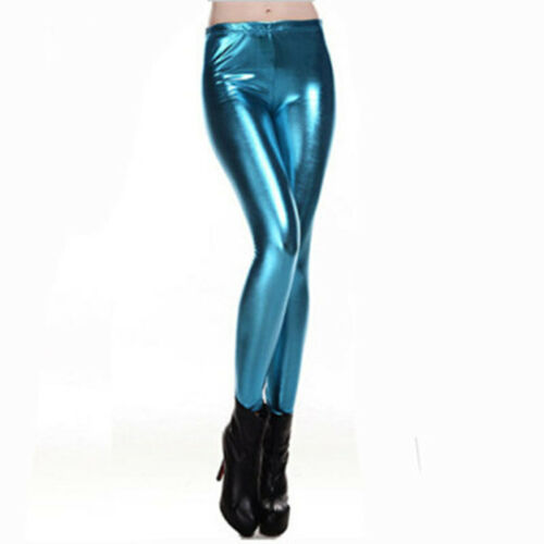 Damen Leggings Metallic Leder Optik High Waist Wet Look Stretch Glanz Leggings