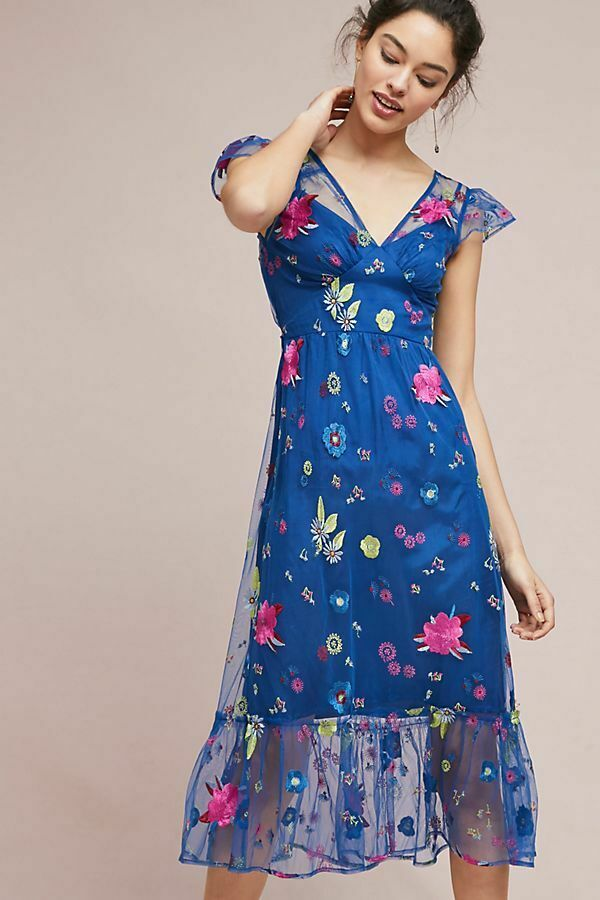 ANTHROPOLOGIE Tracy Reese Embroidered Topaz Dress bluee Floral Sz 2P NEW