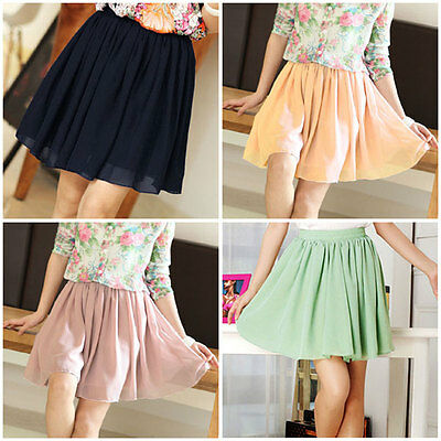 2014 Candy Colors Retro Double Chiffon High Waist Short Pleated Mini Skirt Dress