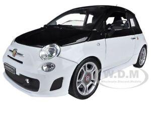 FIAT-ABARTH-500-WHITE-BLACK-1-18-DIECAST-CAR-MODEL-BY-MOTORMAX-79168