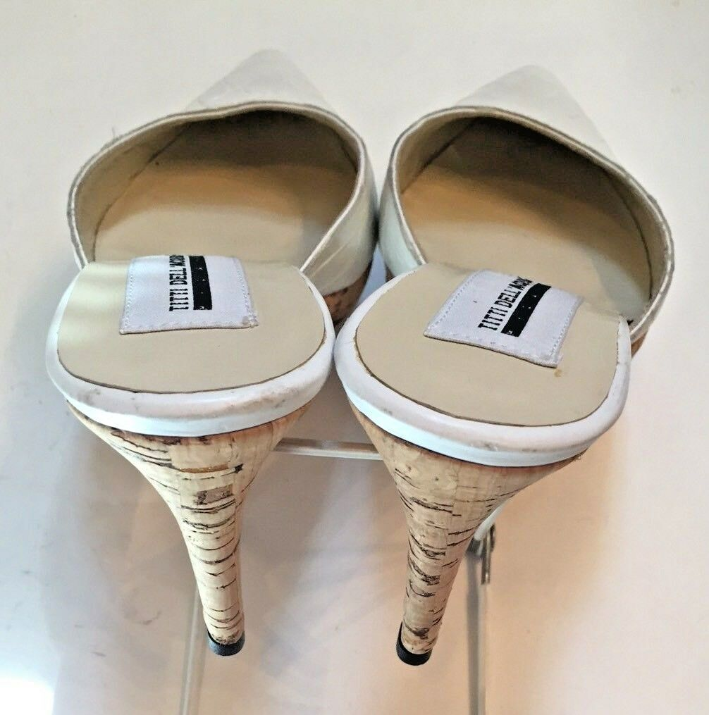 TITTI Slides DELL 'ACQUA Donna's Heels ITALY bianca Leather High Slides TITTI Mules 37.5 7 US 982a8d