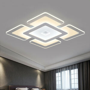 Rectangular acrylic modern led ceiling light living room bedroom image is loading rectangular acrylic modern led ceiling light living room mozeypictures Image collections