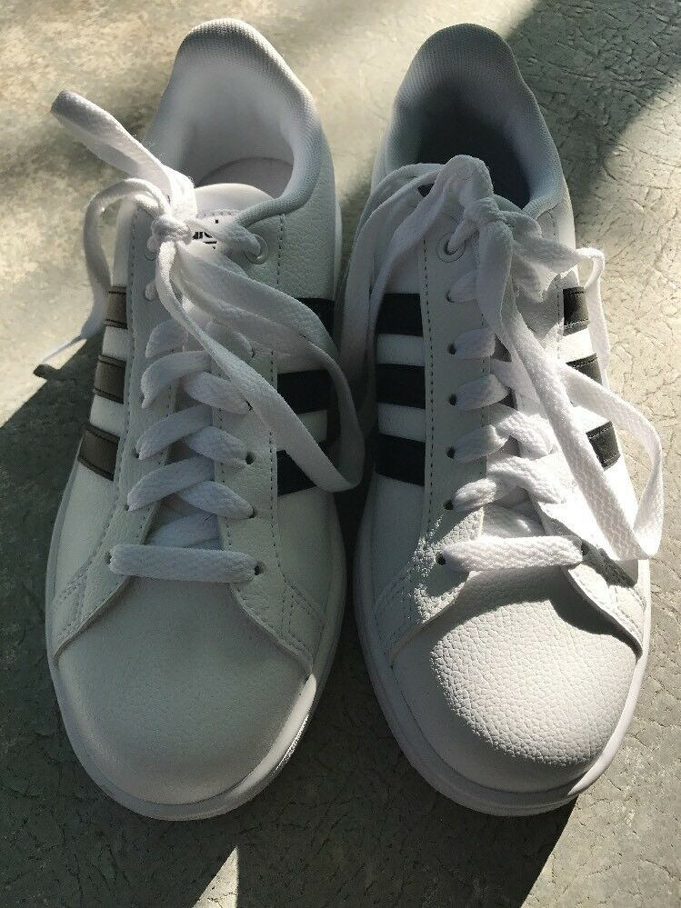 Adidas NEO Cloudfoam Advantage Stripe Boy's Shoes White & Black Comfortable Seasonal price cuts, discount benefits