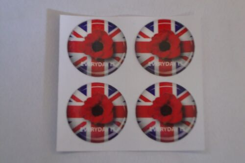 """16 POPPY STICKERS CROWN GREEN BOWLS  REMEMBRANCE DAY   1/""""  LAWN BOWLS"""