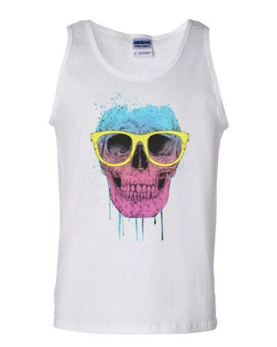 Skull with Glasses Tank Top Neon Dripping Bleeding Skull Sleeveless