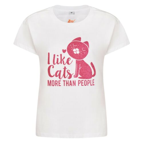 Shirt Sparkly White Pink Cat Gift Glitter Women's T Lover Ladies qwz00tO