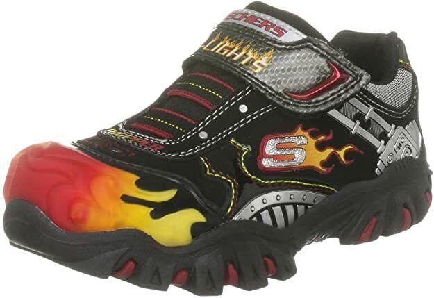 Skechers 90359L/BKRD Black Red Motorcycle Light Up Youth Boys Kids Shoes Size 2