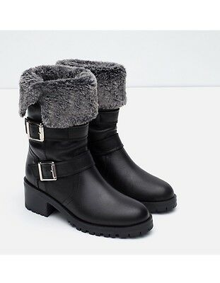 FLAT LEATHER BIKER ANKLE BOOTS WITH FAUX FUR