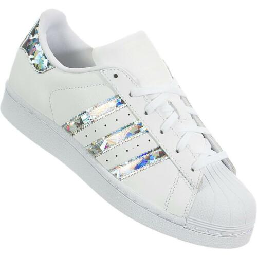 Iridiscenti Frau Neu F33889 Superstar Weiß Adidas Leder Spiegel Schuhe ON8nwvm0