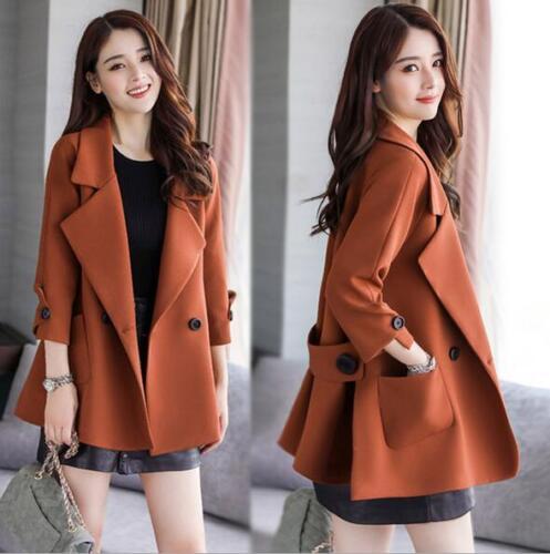 Koreansk Womens Coat Trench 3 Wide Lapel Vogue Outwear Farve Hot Sale Jacket Loose 5tTwqtU