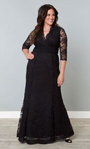 Details about Kiyonna Plus Size Dress Size 5X Black Lace Gown Screen Siren  Style Made In USA