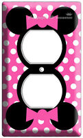MINNIE MOUSE PINK POLKA DOTS POWER OUTLET WALL PLATE COVER GIRLS ROOM DECORATION