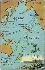 Details about Pacific Ocean, HAWAII, Hawaiian Islands MAP pc (1930s)