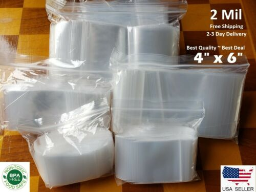 "4/""x6/"" CLEAR 2 MIL ZIP LOCK BAGS POLY PLASTIC RECLOSABLE SEAL SMALL LARGE BAGGIES"