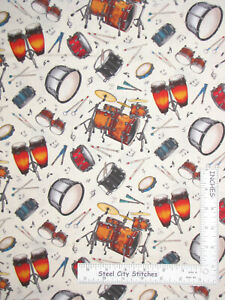 Music-Percussion-Drums-Cream-Cotton-Fabric-Elizabeths-Studio-Jazz-By-The-Yard