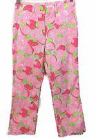 Lilly Pulitzer Capri Pants Size 4 Mango Mama Pink White Green Cotton Stretch