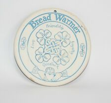 Vintage Clay Beige Teal USA Made Heart Land Studios Bread Bun Warmer