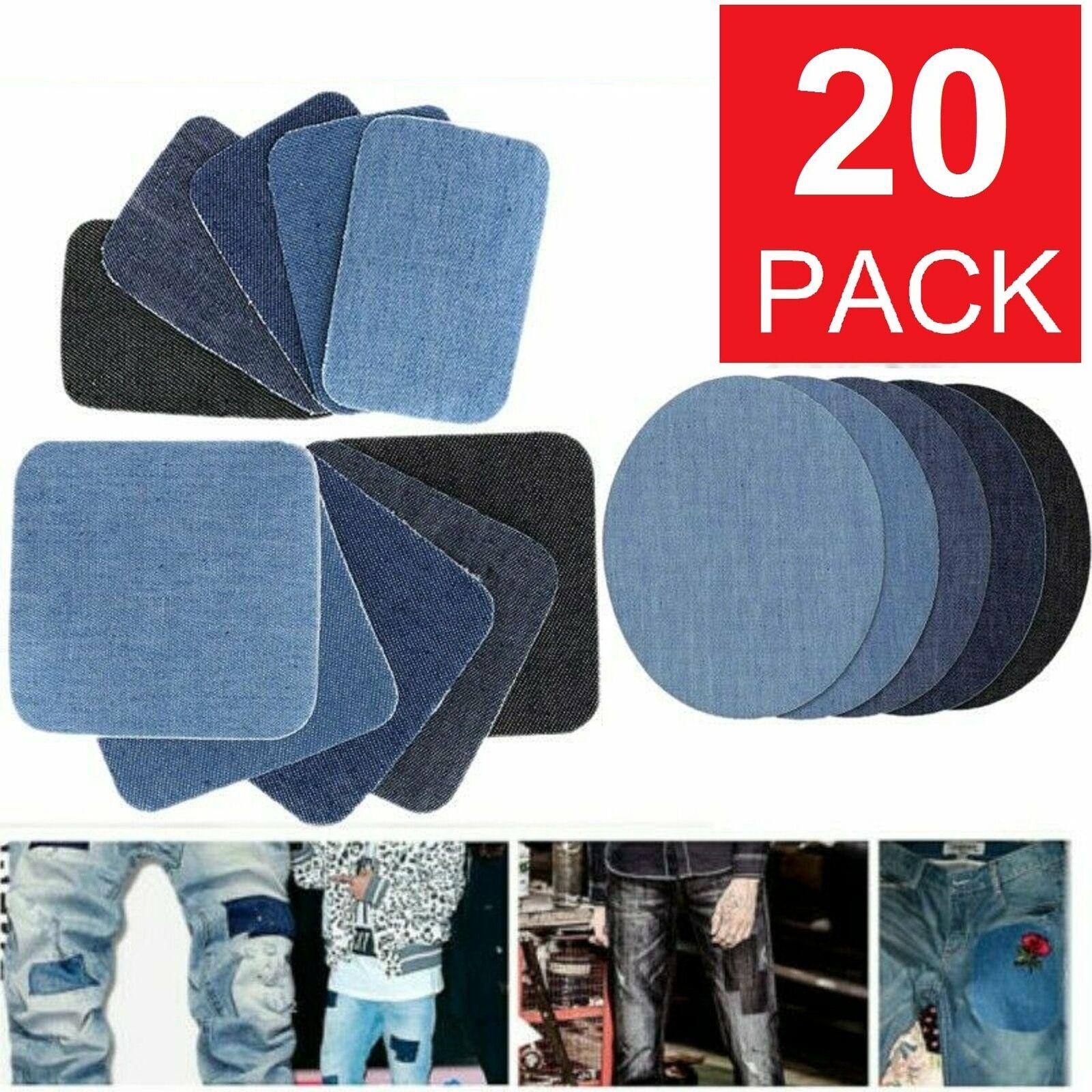 20PCS DIY Design Iron on Denim Fabric Patches Clothing Jeans Repair Kit 4 Colors