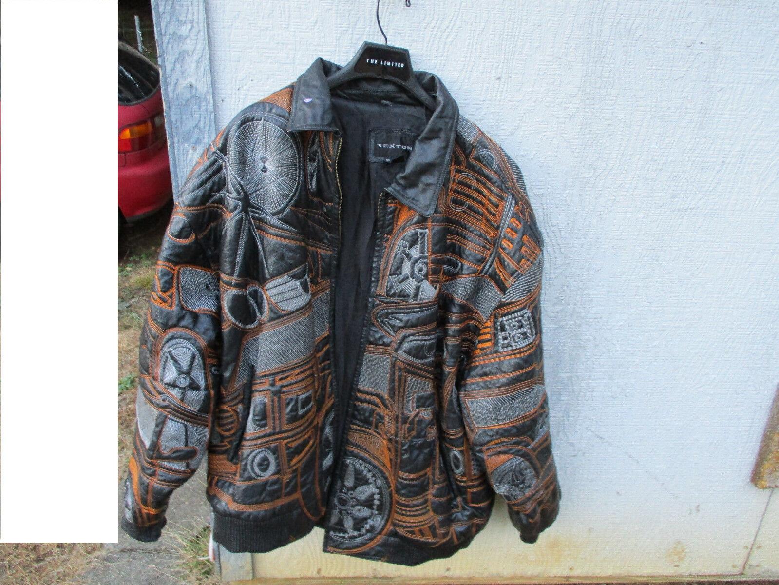 REXTON Vintage Adult Winter Leder Heavy EmbroideROT Coat - -SIZE 5XL-Rare