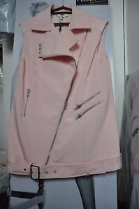 cameo Thick M Biker chaleco Dust Mini Fabric abrigo decorar Pink Zips vestido qxxpfP