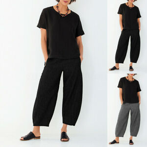 ZANZEA-Pantalon-Femme-Decontracte-lache-Taille-elastique-Bande-Jambe-Large-Plus