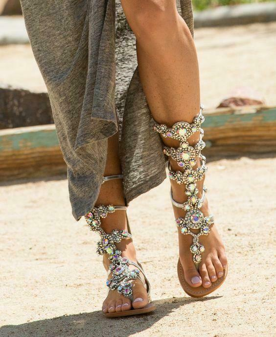 Womans Crystal Rhinestone Sandals Beach shoes Glitter Gladiator Sandals Boots
