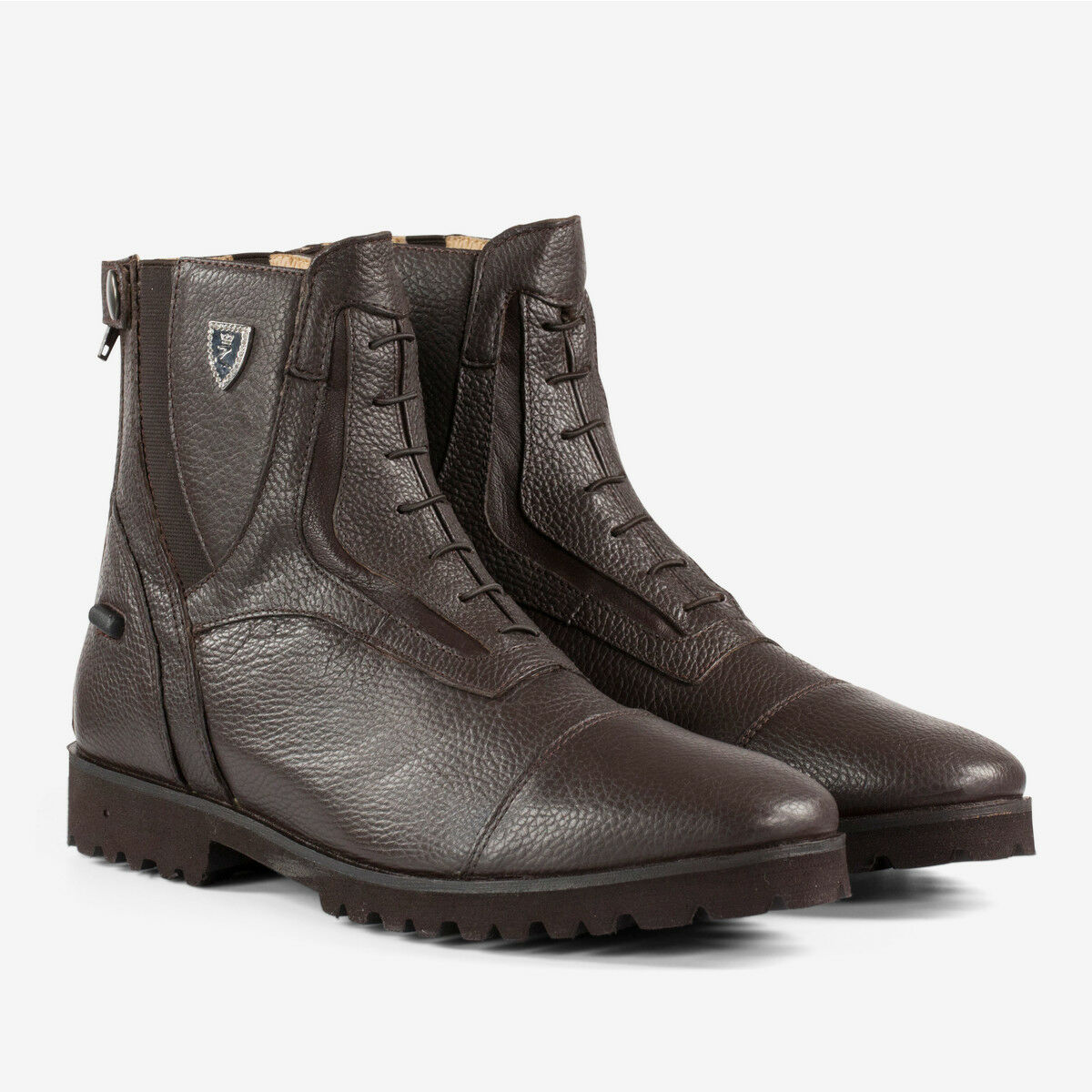 Horze Drew Paddock Riding Stiefel Soft Leather with Back Zip and Faux Lace Front