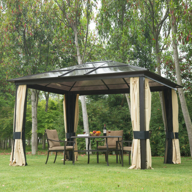 Charmant 12u0027x10u0027 Outdoor Patio Canopy Party Gazebo Shelter Hardtop W/ Mesh And  Curtains