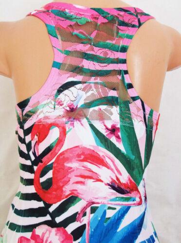Filles Flamant Rose Tropical Imprimé Dentelle Chiffon Hem Sportif danse robe de soirée