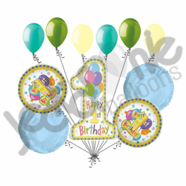 11 Pc Happy 1st First Birthday Balloon Bouquet Party Decoration Baby Boy Girl