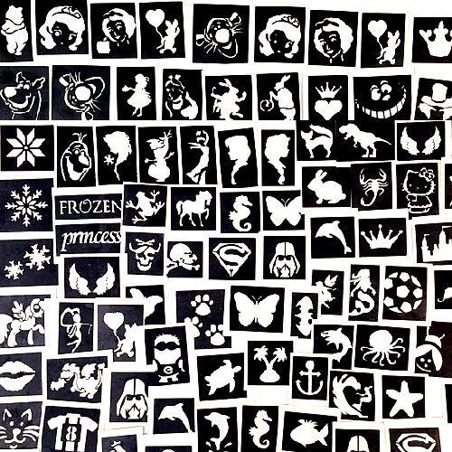 STENCILS  X100 TOP UP YOUR GLITTER TATTOO KIT a mix of boys &girls plus seasonal