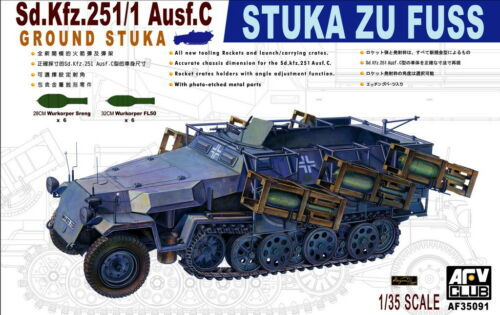 AFV Club 1//35 AF35091 WWII German STUKA ZU FUSS Sd.Kfz.251//1 Ausf.C Ground Stuka